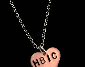 HBIC - Inventory PURGE - 30% Off Boss Bitch, Boss Lady, Girl Boss, Like a Boss, Copper Heart Necklace, Alfa Female, Queen B, Charm Necklace