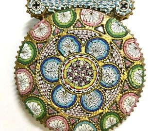 Stunning antique micro mosaic buckle c1880-1900 Victorian Italian jewellery/ bijouterie can be worn as pendant/necklace/brooch