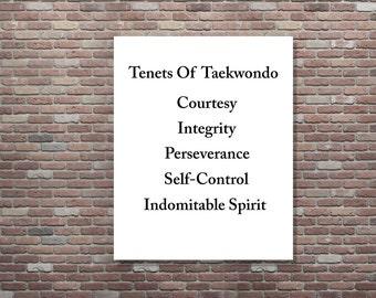 Taekwondo Tenets Wall Art, Tenets Of Taekwondo, INSTANT DOWNLOAD,YOU Print, Taekwondo Tenets Art, Martial Arts Taekwondo Art