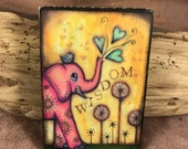 Wisdom - Aceo print mounted on Wood (2.5 x 3.5)  by Elise Hartmann