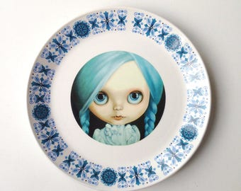 Blythe Doll vampire Vintage Plate Altered Art - pop art wall hanging plate