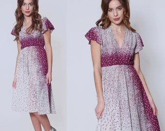 Vintage 70s FLORAL Dress GRADIENT Flower Print Dress ASYMMETRICAL Print Day Dress Sheer Midi Dress