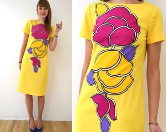 Vintage MOD Applique Yellow Dress XS/S // 1960s 1970s Ilsa Engel Boutique Ny small 60s 70s colorful shift