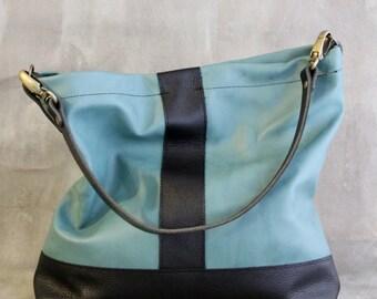 Black and Teal Aqua Leather Hobo Bag