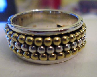 RING  - SPINNING -  spinner  - TRIPLE - Beaded  - Two Tone - 925 - Sterling Silver - Size 7 1/4 spinner233