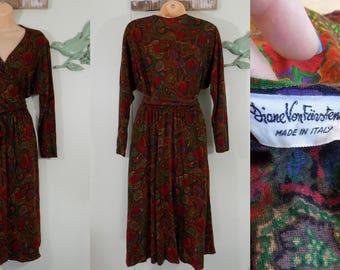 Vintage 70s Diane Von Furstenberg Iconic Wrap dress long sleeve shirt dress mid calf red paisley Floral Medium/large