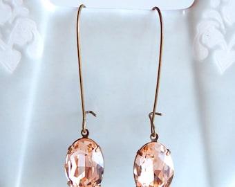 Vintage Swarovski Light Peach Oval Rhinestone Earrings Old Hollywood Bridal Bridesmaids Retro