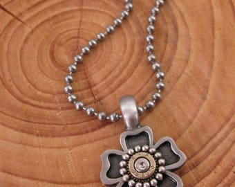 Bullet Jewelry - Flower and Bullet Casing Pendant Necklace - Solid Backed Flower Pendant on Ball Chain - Gun Girl Jewelry