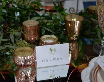 Greenery Design Personalized Tented Place Cards