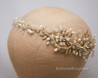 Gold Wedding Hair Vine, Brass Leaf and Crystal Bridal Headpiece, Wedding Hair Accessory, Rhinestone and Pearl Gold Rustic Wedding Headband