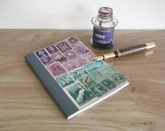 Heather Green A6 Birthday-Address Book - Vintage Postage Stamp Collage