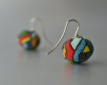 statement dangle earrings multicolor