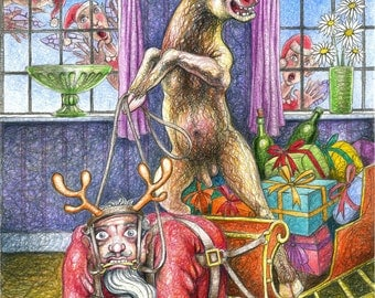 "Original drawing: ""Rutolph's Revenge"" - Santa in role-reversal, harnessed to a sleigh. (mature content)"