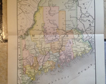 1890 Political Map of Maine Antique Illustration