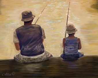 """Father Art Father Son Art Print Dad Son Big Brother Daddy Boy Family Fathers Day """"MORNING FISHING"""" Leslie Allen Fine Art"""