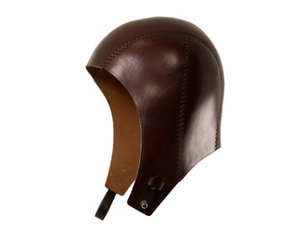 STEAMPUNK LEATHER AVIATOR hat brown leather