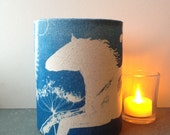 White Horse - Hand printed cyanotype fabric, candle lantern.Design Sample
