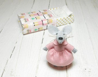 Felt mouse stocking stuffer first christmas stuffed animals baby unique gift nutcracker kids birthday gift mouse matchbox pink gold