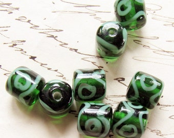 green glass barrel beads - vintage 1980s handmade beads with evil eye designs - 8 beads - 10mm