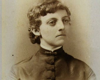 Victorian cabinet card photograph - open space sepia portrait with a wonderful character face