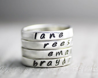 Custom Ring,Mothers Ring,Personalized Name Rings,Word Rings,Silver Ring,Sterling Stack Rings,Custom Stack Rings,Stack Band, Wedding Ring