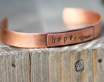 Hope Bracelet, Copper Cuff, Copper Bracelet, Feather Cuff, Womens Hope Bracelet, Boho Cuff, Hipster Cuff, Feather Bracelet