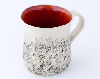 Red handmade mug, Large coffee Mug, handmade tea cup, Cappuccino Cup, Stoneware mug, wheel thrown Cup, Pottery ceramic mug, Birthday gift