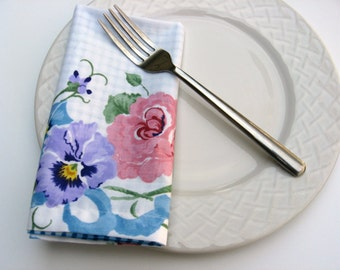 Floral and Gingham Cloth Napkins, Fabric Napkins, Table Decor