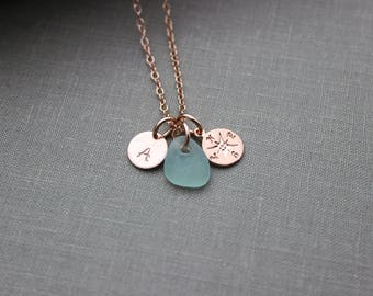 Rose Gold vermeil compass necklace - Genuine Sea Glass and Initial Charm necklace - Wedding Bridesmaid Gift, Personalize Pink Gold Filled