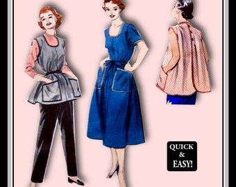 Vintage 1954-Cover-All APRON DRESS –Apron-Sewing Pattern-Scoop neckline-Fun Patch Pockets-Wear Loose or Belted-Trim-Uncut-Size 12-Rare