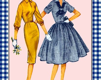 Vintage 1959-FITTED SHIRT-DRESS-Sewing Pattern-Two Styles-Sexy Wiggle Dress-Full Flare Twirl Flirt Skirt-Wing Collar-Belt-Uncut-Size 18-Rare