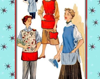 Vintage 1953-MOTHER'S COBBLER APRON-Sewing Pattern-Three Styles-Scallop-Button Detail-Contrast Fabric-Butterfly Potholder-Size Small-Rare