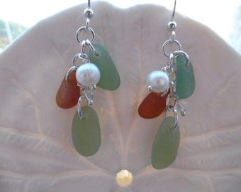 Earrings Sea Glass Sterling Beach Glass Earrings Jewelry Chandelier Sterling Silver