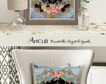 Large Printable Image VICTORIANA No.2 Digital Collage Sheet Vintage Ephemera download for tote bags t-shirts pillows for fabric and paper