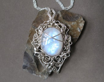 Rainbow Moonstone and Sterling Silver Pendant Wire Wrapped - Oriental Style
