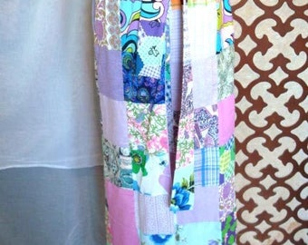 70s Patchwork Purple Maxi Skirt Sz M  Flower Child