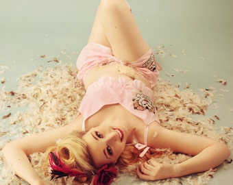 Pink Cat Crop Top and Shorts Pyjama Set, Tattoo Style Sleepwear, Kawaii Nightwear, Sizes XS-XXL