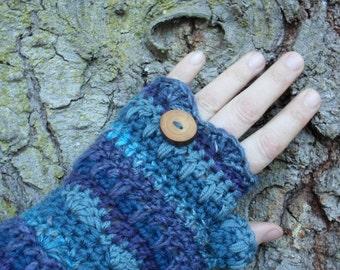 Gypsy Blue Woodland fingerless mitts Crochet Pixie Wear handpainted Hemp wool cashmere Reclaimed Wood Button