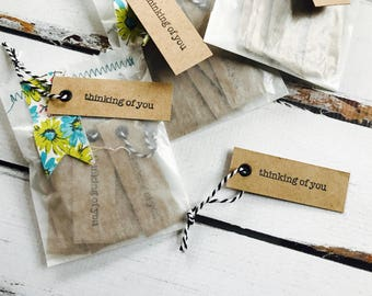 Thinking of YOU mini kraft tags, perfect for gift giving and pretty packaging