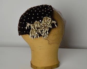 1940s Hat, Brown Hat, Beaded Hat, Mini Hat, Half Hat, Pearl Hat, Millinery Hat, Cocktail Hat, Evening Hat, Veil Hat, Velvet Hat,