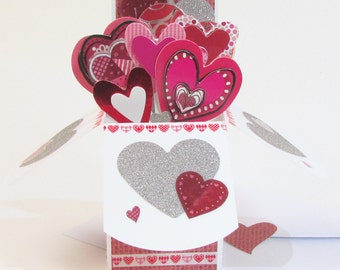 Valentines Day Pop Up Card Heart Bouquet - Valentine Gift For Him Her - Valentine's Day Decor - Customizable Magical Heart Pop Up Box -