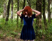 Blue Velvet Dress, Mini Dress with Short Sleeves, Polo Shirt Opening and White Collar, Schoolgirl Dress, Uniform Dress, Cosplay