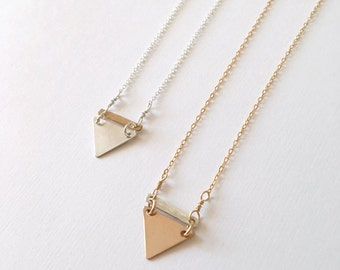 Mixed Metal Little Triangle Necklace / Sterling Silver and 14k Gold Filled / Gifts for Her / Dainty Jewelry / Hammered Bar