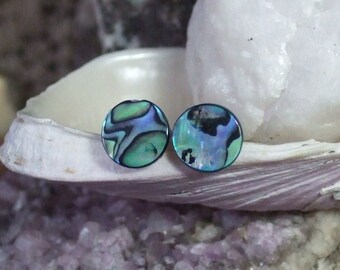 Blue Paua Shell Stud Earrings Titanium Posts and Clutches Handmade in Newfoundland 8mm Round Blue Green Hypo Allergenic