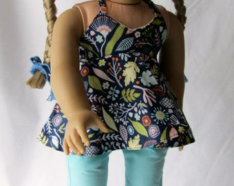 "Floral Halter Swing Top - 18"" Doll shirt - Ready to ship"