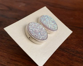 White Drusy and Sterling Silver Stud Earrings