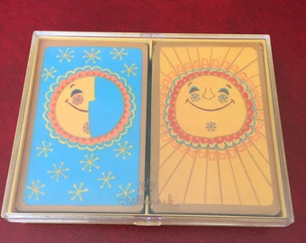 Vintage Hallmark 'Happiness' Playing Cards with Storage Case - Sun, Moon and Stars!