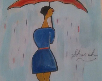 Wall art, wall decor black woman art, umbrella artwork, walking in the rain,black woman painting, abstract artwork