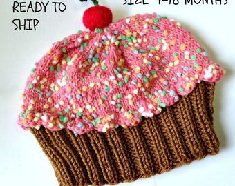 Cupcake Hat size 4-18 months cherry on Top Milk Chocolate Cake Strawberry Pink Frosting Sprinkles READY TO SHIP  4 6 9 12 18 months