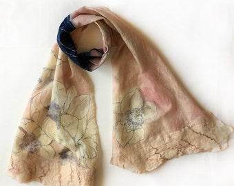 Pale Peach Felted Scarf/ Orchids Silk Chiffon Scarf felted/ Unique handmade scarf/ Light creamy and ivory floral scarf, Winter accessory